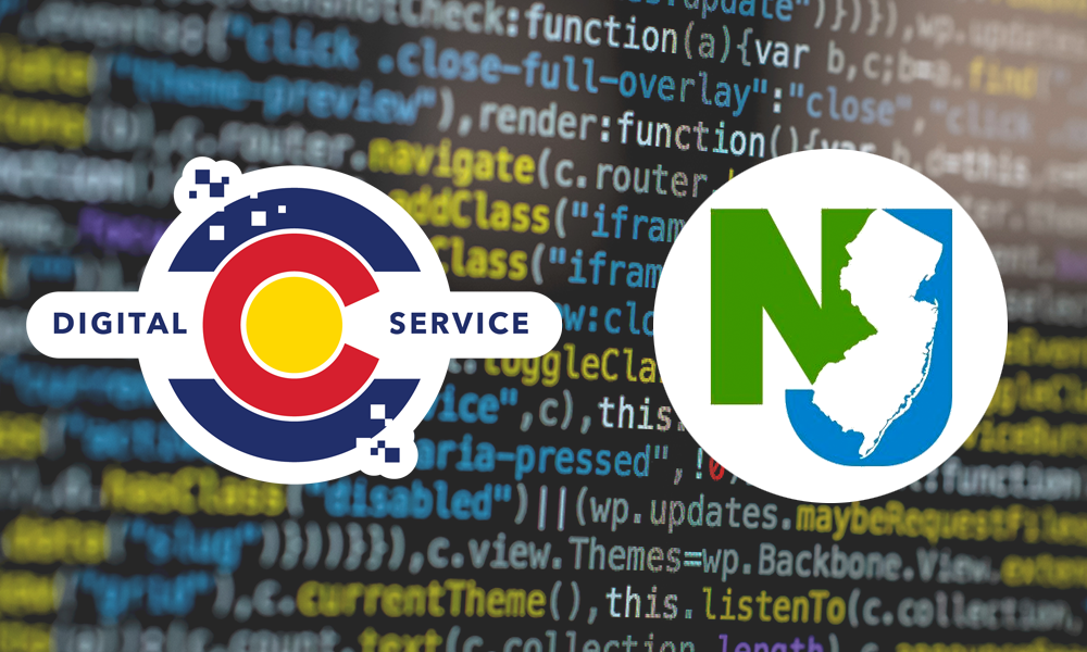 logos of colorado and new jersey digital service teams over screen of computer code