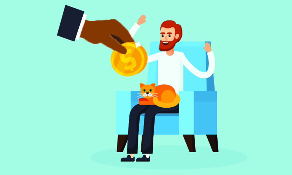 illustration of man in chair receiving coin from large hand