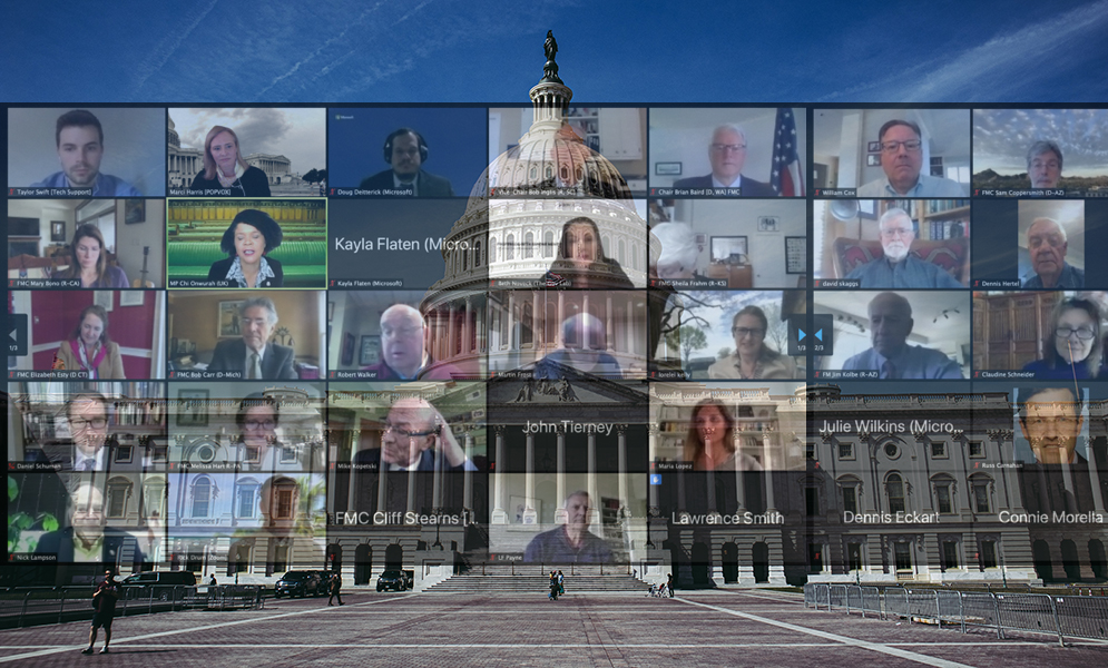 zoom meeting overlaid over image of U.S. Capitol