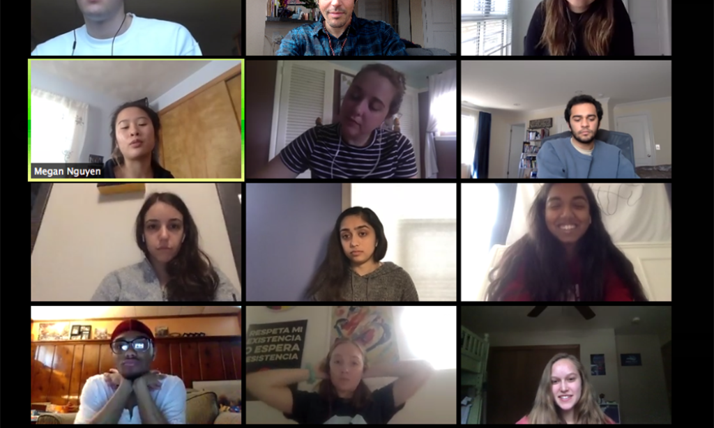 screenshot of students in a Zoom meeting