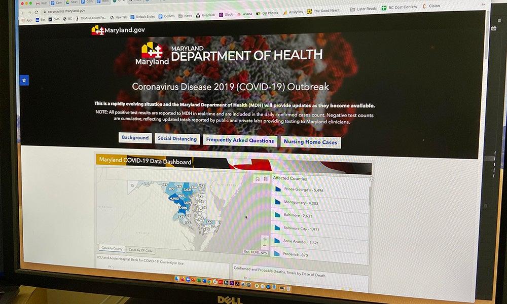 screenshot of Maryland Department of Health website
