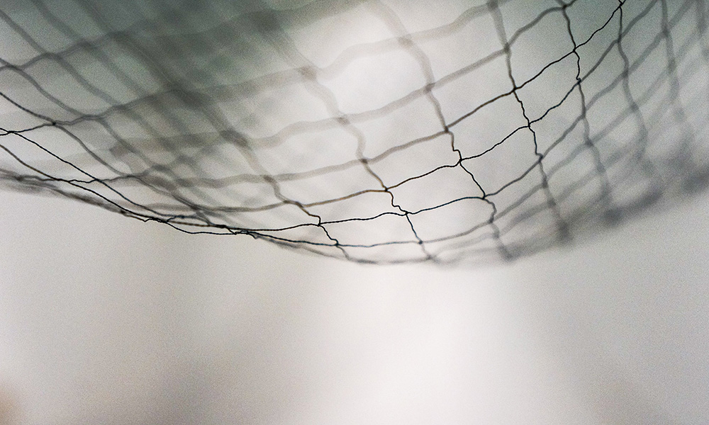 blurry image of net on white background