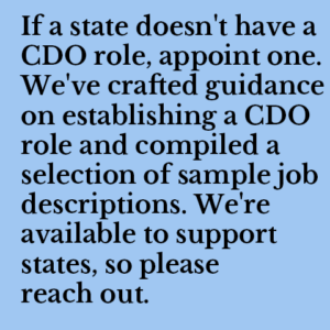 If a state doesn't have a CDO role, appoint one. We've crafted guidance on establishing a CDO role and compiled a selection of sample job descriptions. We're available to support states, so please reach out.