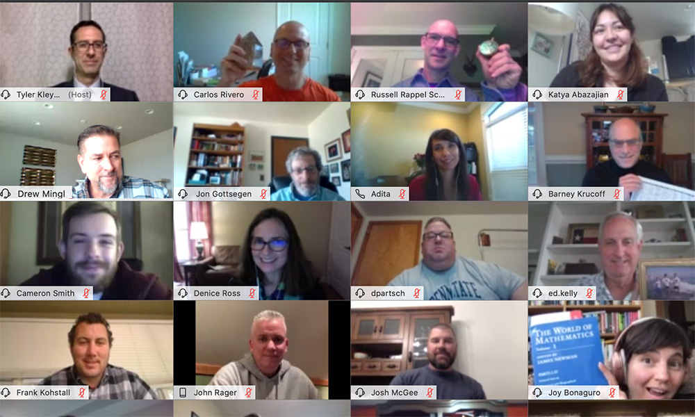 screenshot of multiple people in a video chat conference