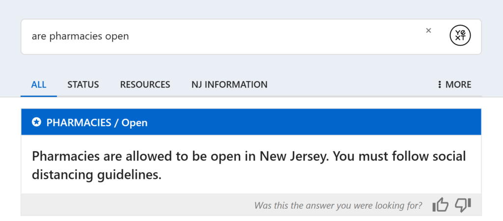 "Screenshot of ""are pharmacies open"" from NJ COVID-19 info page"