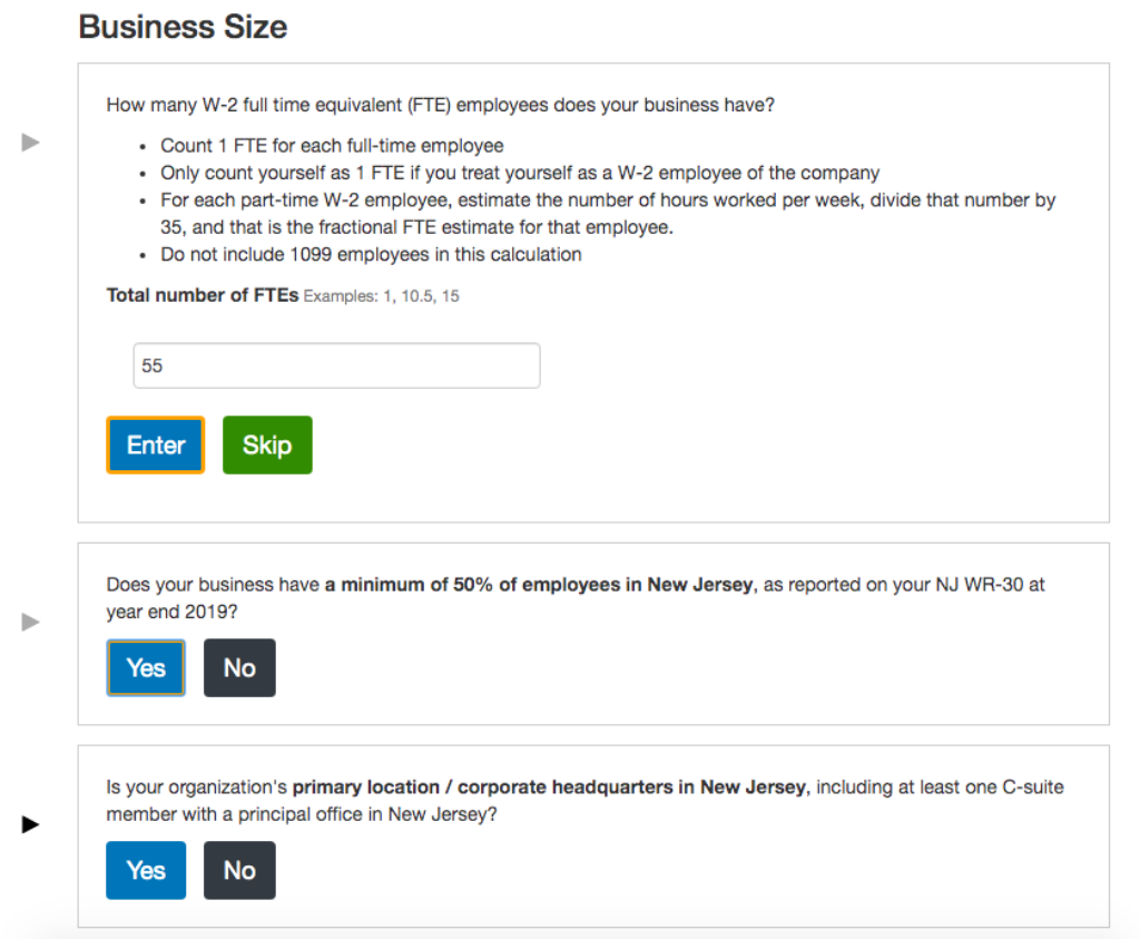 Screenshot of Small Business Eligibility Wizard tool