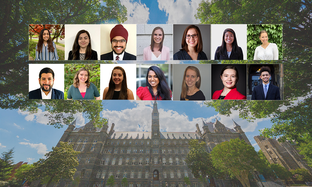 collage of student headshots over Georgetown's Healy Hall