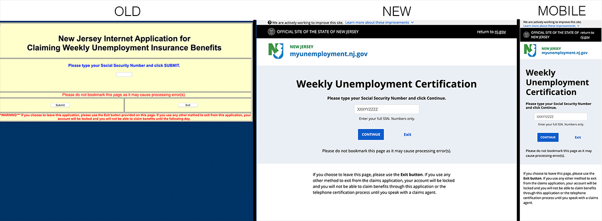 screenshots of old, new, and mobile versions of New Jersey weekly unemployment certification sites
