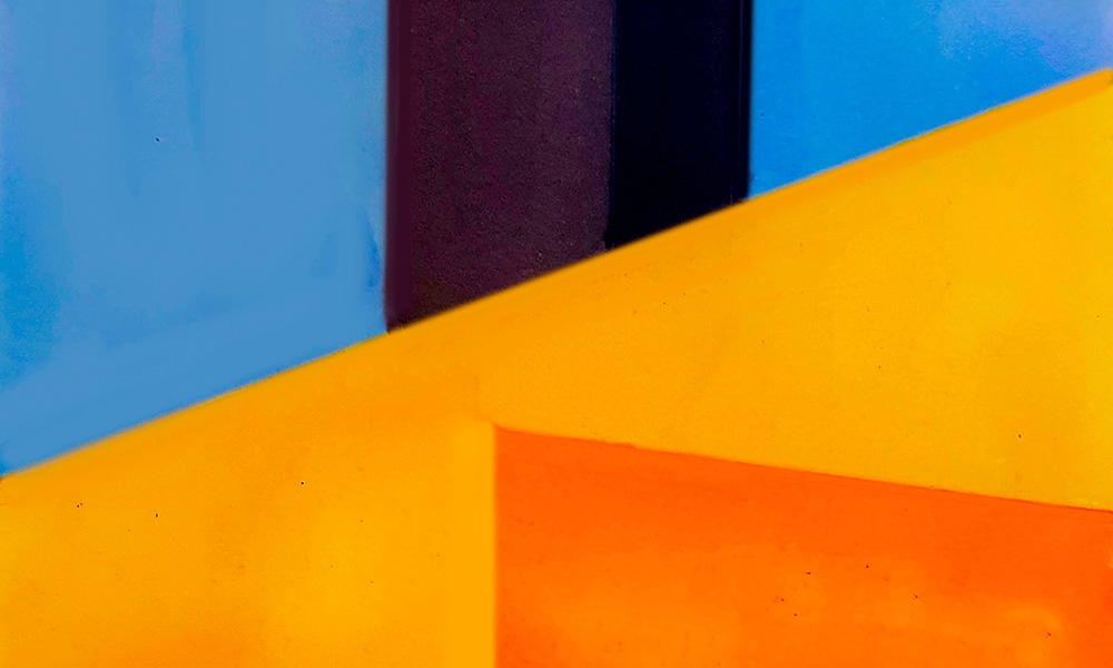 modern abstract art with blue, black, yellow, and orange colors