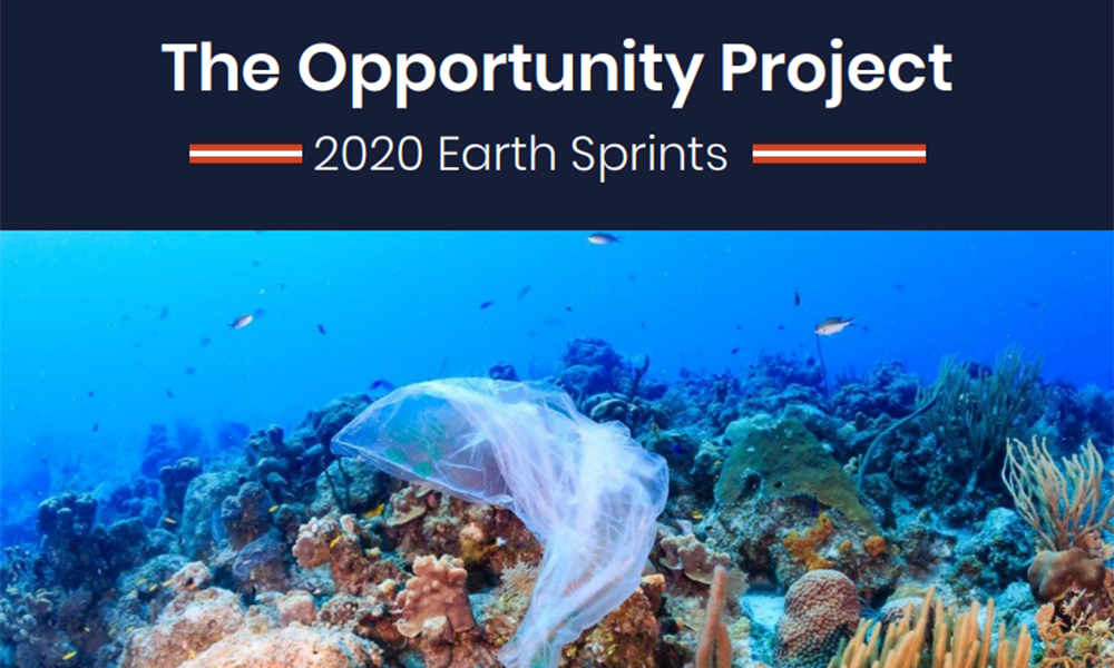The Opportunity Project with photo of plastic bag floating over a coral reef