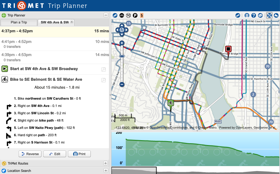 Screenshot of Portland, OR TriMet Trip Planner