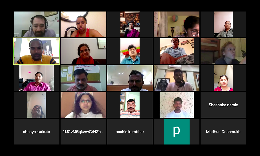 screenshot of Zoom participants at Mann Deshi Teacher's Conference