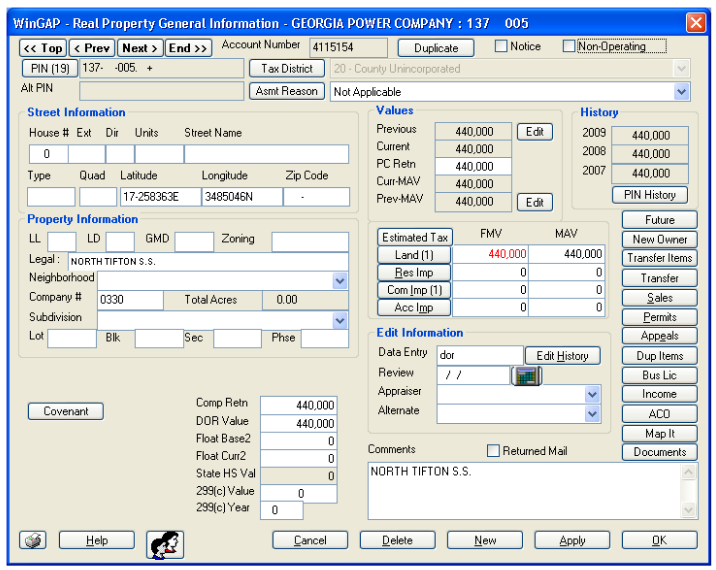 screenshot of WinGAP CAMA data entry screen