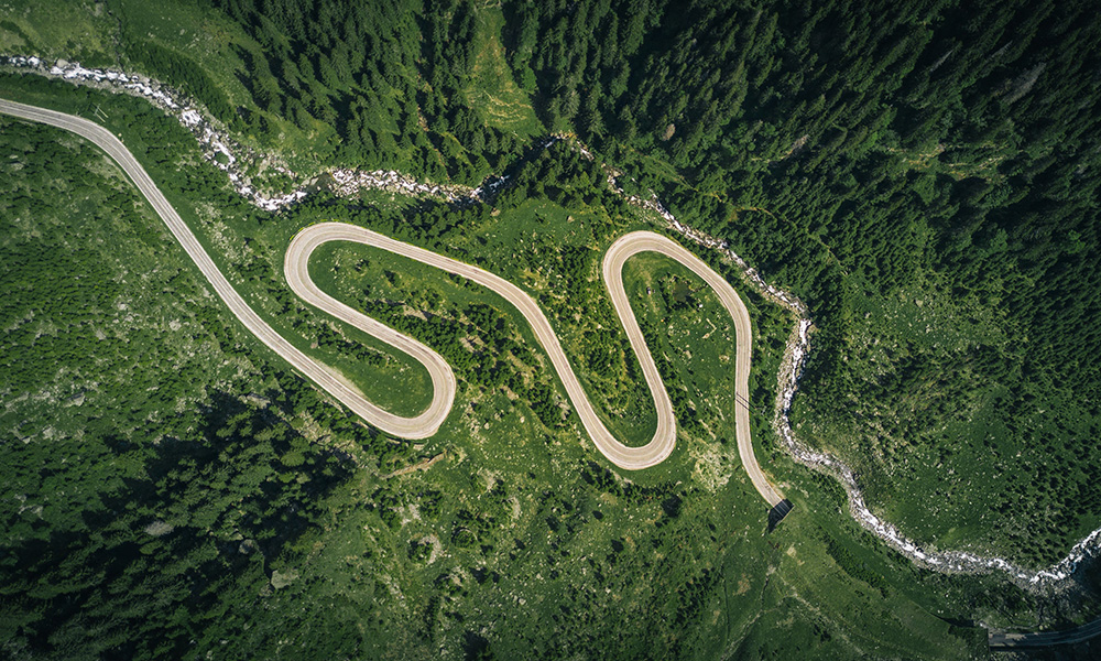 aerial shot of winding mountain road