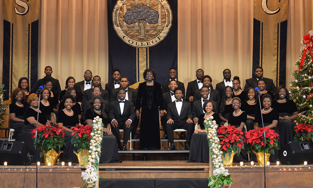 Stillman College choir in formal wear on stage