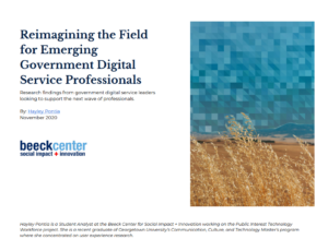 Cover of Reimagining the Field for Emerging Government Digital Service Professionals
