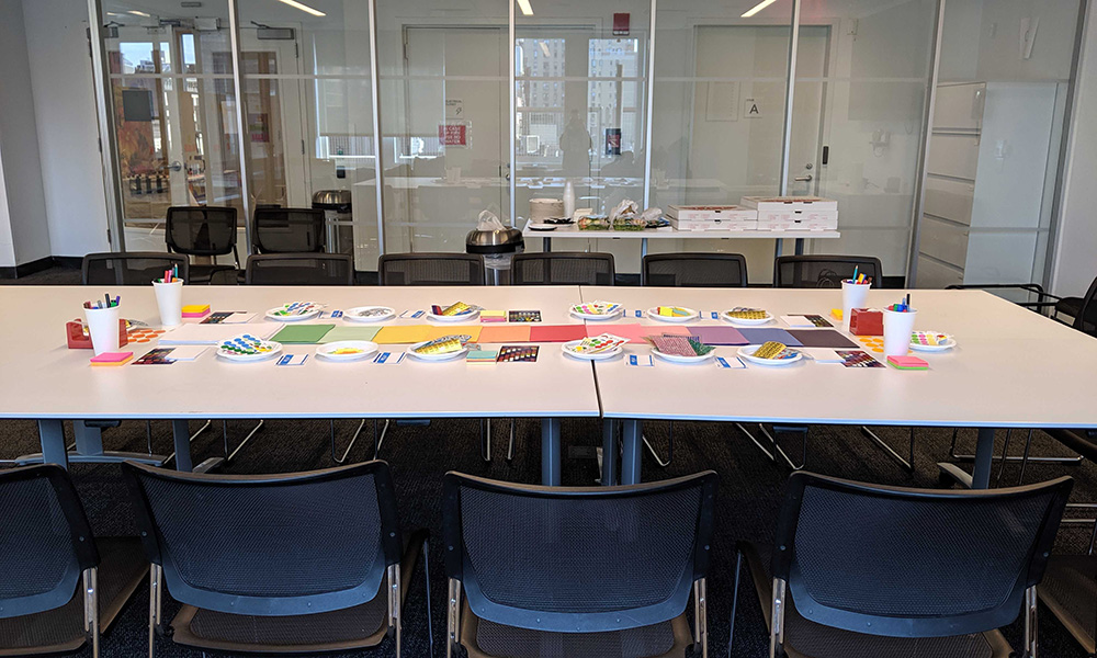 conference table with sticky notes on top